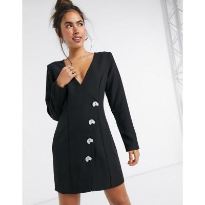 エイソス ミニドレス レディース ASOS DESIGN aysmmetric wrap mini dress with contrast buttons in black エイソス ASOS ブラック 黒