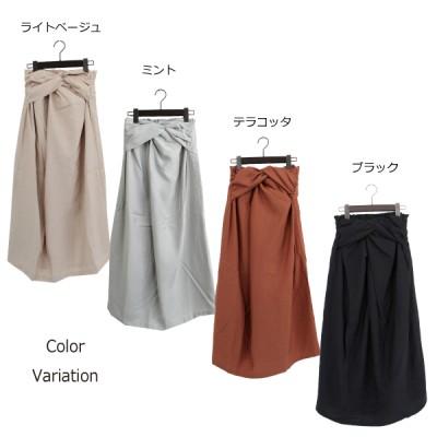 クレープフロントツイストスカート(ミント×M)