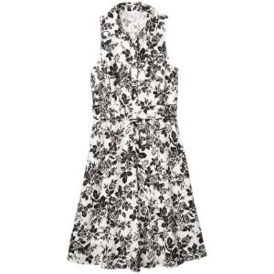 ロンドンタイムス レディース ワンピース トップス Sleeveless Shirtdress with Waist Tie White/Black