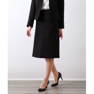 (AMACA/アマカ)MIXツィードAラインスカート/レディース ブラックネイビー