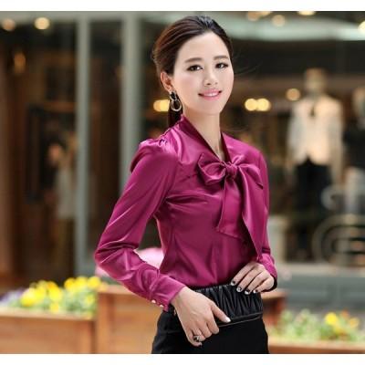 シルクシャツ 最高級正絹シルク生地シャツ ブラウス 長袖 3色