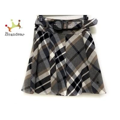 バーバリーブルーレーベル スカート サイズ36 S レディース 美品 - グレー×黒×マルチ 新着 20200929