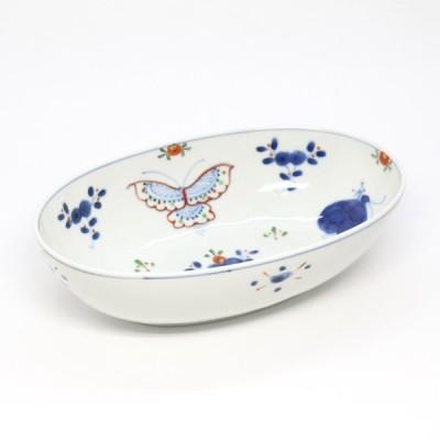 天啓花蝶紋6.5寸楕円鉢【福珠窯(有田焼窯元)】