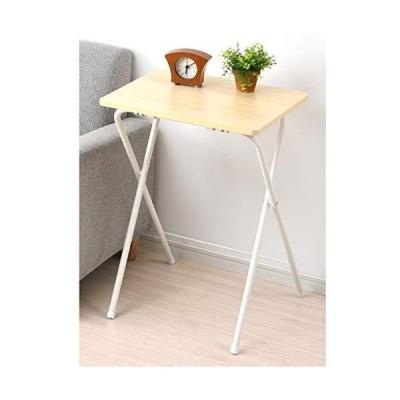 [山善] テーブル ミニ 折りたたみ サイドテーブル 幅50*奥行48*高さ70cm ハイタイプ 傷・汚れ・水分・熱に強い天