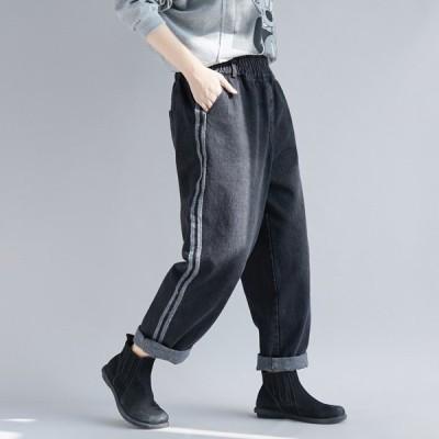 デニム レディース デニムパンツ ジーンズ ジーパン ロングパンツ ズボン ボトムス ルーズ ゆったり 大きいサイズ