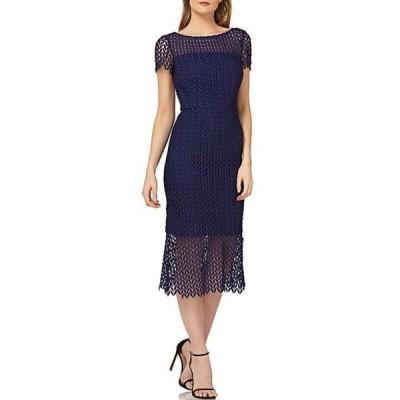 ケイ アンジャー レディース ワンピース トップス Flounce Hem Illusion Lace Cap Sleeve Scalloped Midi Sheath Dress
