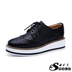 【SOFT WALK 舒步】真皮英倫風布洛克刻花經典厚底綁帶牛津鞋 黑