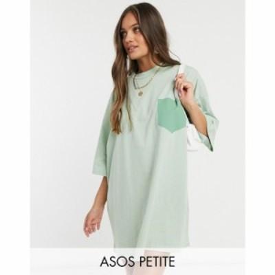 エイソス ASOS Petite レディース ワンピース ポケット Tシャツワンピース ASOS DESIGN Petite oversized t-shirt dress in with patch p