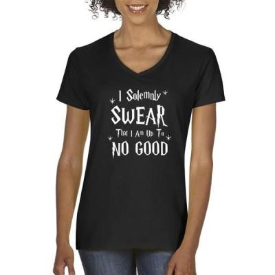 レディース 衣類 トップス Allwitty 1062 - Women's V-Neck T-Shirt I Solemnly Swear That I Am Up To No Good グラフィックティー
