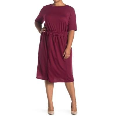フォーゴットングレイス レディース ワンピース トップス Short Sleeve Smock Waist Dress BURGUNDY