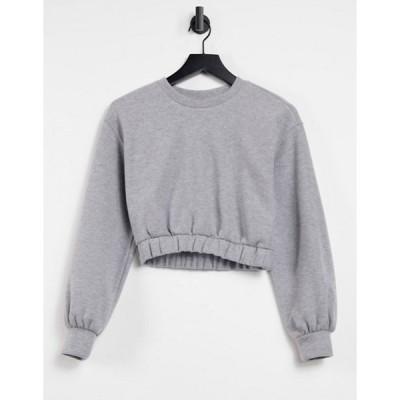 プルアンドベアー レディース シャツ トップス Pull&Bear soft touch cropped sweatshirt set in gray
