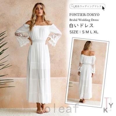 軽系ウェディングドレスロングドレスレディース白いドレスウェディングドレス結婚式シンプル上品ワンピースウェディングドレスウエディング
