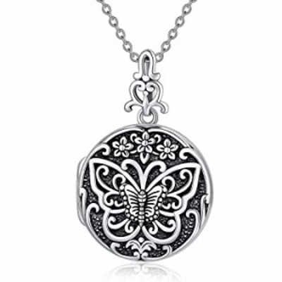 Sterling Silver Vintage Butterfly Personalized Picture Locket Photo Necklace With Picture Antique Custom Lockets for Women that