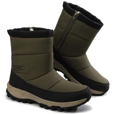 [ZanYeing] 6cm防水仕様 スノーブーツ サイドジッパー ウインターブーツ 裏ボア メンズ 防滑 ロングブーツ