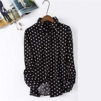 【レディース】長袖 ドット柄 ブラウス :トップス シャツ 透け感 襟あり 大きい 大きめ サイズ カジュアル シンプル