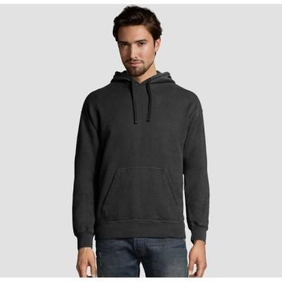 ヘインズ Hanes メンズ パーカー スウェット トップス Comfort Wash Fleece Pullover Hooded Sweatshirt Black