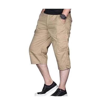 ODFMCE カーゴパンツ メンズ ハーフパンツ 7分丈 夏 パンツ 綿 ズボン ゆったり 大きいサイズ (カーキ, XXXXL)