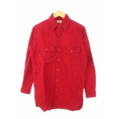 【中古】エルエルビーン L.L.BEAN 60's 70's シャモアクロス シャツ 筆記体タグ 長袖 ヴィンテージ 赤 レッド 14.5 メンズ