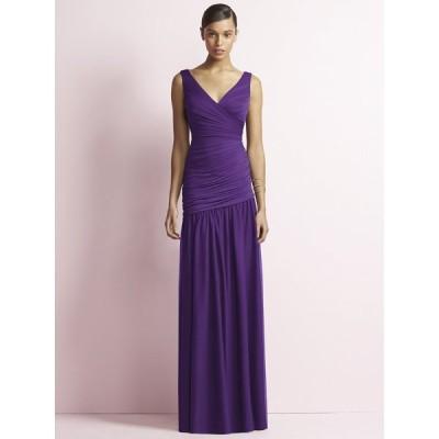 スレンダーなマーメイドシルエットロングドレス ブライズメイド カラードレス 演奏会 パーティー 紫 お呼ばれ お色直し 結婚式 :JY506 パープル