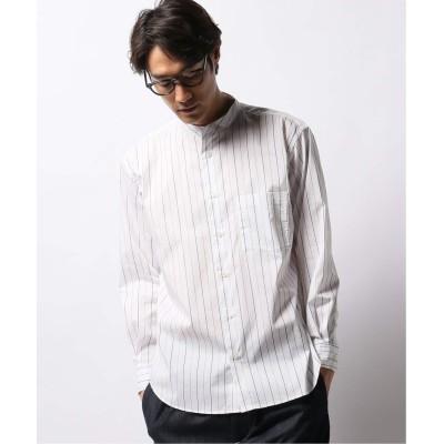 メンズ ベーセーストック ライクラウェザーストレッチバンドカラーシャツ ホワイト M