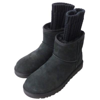 SACAI×UGG 「KNIT CLASSIC」ニットクラシックムートンブーツ ブラック サイズ:23cm (原宿店) 200627