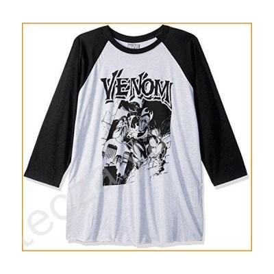 Marvel Men's Official Street Venom Fashion Raglan, WTHT/Black White, Small並行輸入品