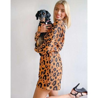 エイソス ASOS DESIGN レディース オールインワン プレイスーツ ワンピース・ドレス Lounge Tie Waist Playsuit In Animal Print アニマルプリント