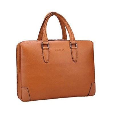 Banuce Soft Full Grains Leather Briefcase for Men Women Handbags U-zip Attache Case 14 Inch Laptop Tote Business Bag Ladies Purse Brown【