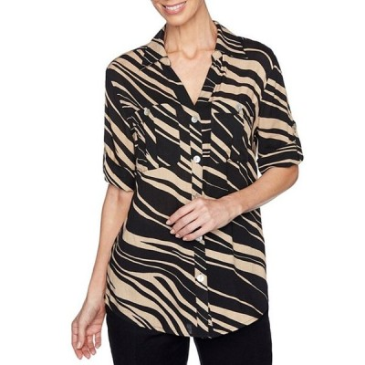 ルビーアールディー レディース シャツ トップス Zebra Print Woven Slub 3/4 Roll-Tab Sleeve Button Down Top