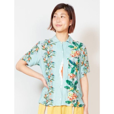 【チャイハネ】トロピカルフラワーアロハシャツ ブルー