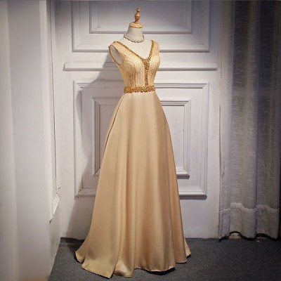 パーティードレス ロング Aライン ノースリーブドレス ワンピース V襟 エレガント 大きいサイズ 40代50代 手作りビーズ 細身 お呼ばれ