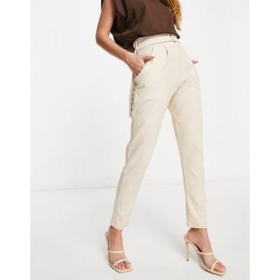 フェム リュクス レディース カジュアルパンツ ボトムス Femme Luxe high waist leather-look pants in stone croc
