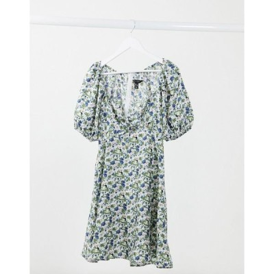 ニュールック レディース ワンピース トップス New Look puff sleeve tie front mini dress in floral Black pattern