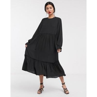 セレクティッド レディース ワンピース トップス Selected Femme drop waist midi dress in black