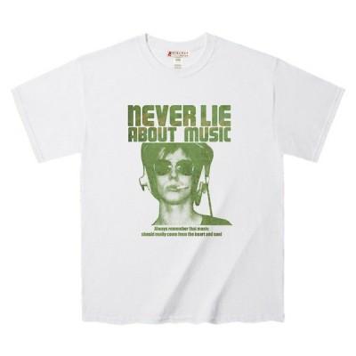 Tシャツ 「音楽を裏切らない」 詩的なメッセージ モデルフォトデザインTee