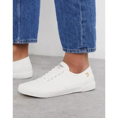 ファーラー メンズ スニーカー シューズ Farah lace up plimsoll sneakers in white White