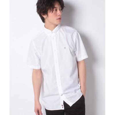 【トミーヒルフィガー】 シアサッカーストライプ ショートスリーブシャツ メンズ ホワイト XL TOMMY HILFIGER