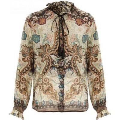 エトロ Etro レディース ブラウス・シャツ トップス Breton tie-neck cotton-blend voile blouse Beige