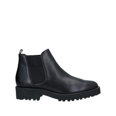 EVALUNA ショートブーツ ブラック 38.5 革 / 紡績繊維 ショートブーツ