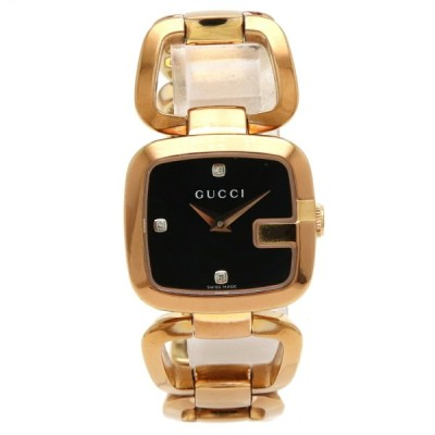 GUCCI グッチ Gコレクション 3Pダイヤ シェル文字盤 ピンクゴールドメッキ レディース QZ クォーツ 腕時計 YA125512 125.5 (中古)