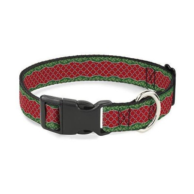 Buckle-Down Cat Collar Breakaway Holiday Trim Stripe Green Red 8 to 12 Inches 0.5 Inch Wide【並行輸入品】