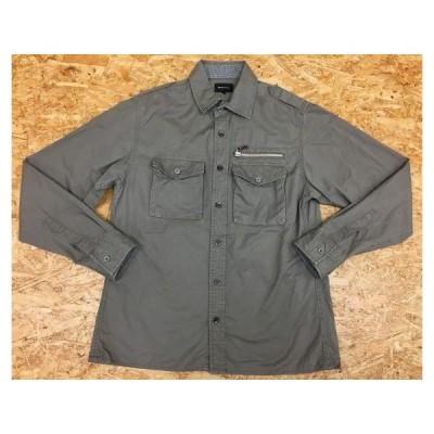 MALE&CO. メイルアンドコー Mサイズ メンズ シャツ 両胸ポケット エポレット ダミージップポケット 長袖 無地 綿100% グレー系