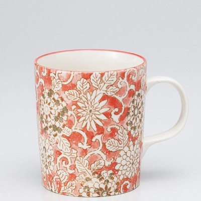 和食器 菊唐草 軽量 マグカップ 赤 カフェ コーヒー 紅茶 珈琲 お茶 オフィス おうち 食器 陶器 おしゃれ うつわ