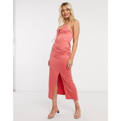 トップショップ Topshop レディース ワンピース ビスチェ スリップドレス ミドル丈 ワンピース・ドレス bustier slip midi dress in sorbet ピンク