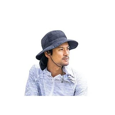 RINNE(リンネ) サファリハット アウトドア UVカット 男女兼用 (M, ブラック)