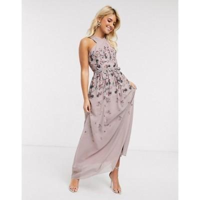 リトルミストレス レディース ワンピース トップス Little Mistress pleat maxi dress in butterfly print