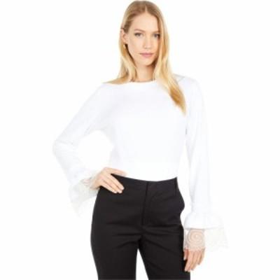 クロエ See by Chloe レディース 長袖Tシャツ トップス Embellished Long Sleeve T-Shirt White Powder