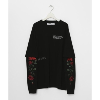 tシャツ Tシャツ Fake Layered Rose Embroidery Longsleeve T-shirt