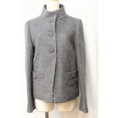 SALE!UNITED ARROWS ユナイテッドアローズ  FACADE GREEN チェック ウールジャケット  40 ホワイト/グレー