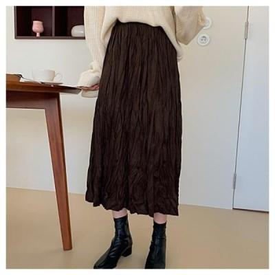 dangosister レディース スカート Latte Wrinkle Long SK Suede Wrinkle Skirt: D